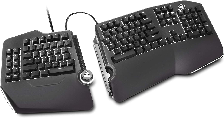 Cloud Nine C989M Ergonomic Mechanical Keyboard - Cherry MX Brown Switches - RGB Light Up LED Backlit with USB - Ergo Split Key Board with Macro for PC