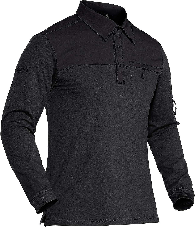 TACVASEN Men's Polo Shirts 3 Button Short and Long Sleeve Cotton Tactical Jersey Polo Tee Shirt
