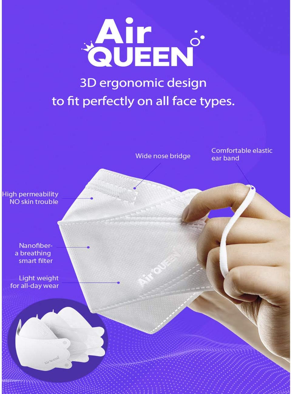 [2 Pack] [AirQueen] 3-Layers NanoFilter Face Safety Mask [Individually Packaged]