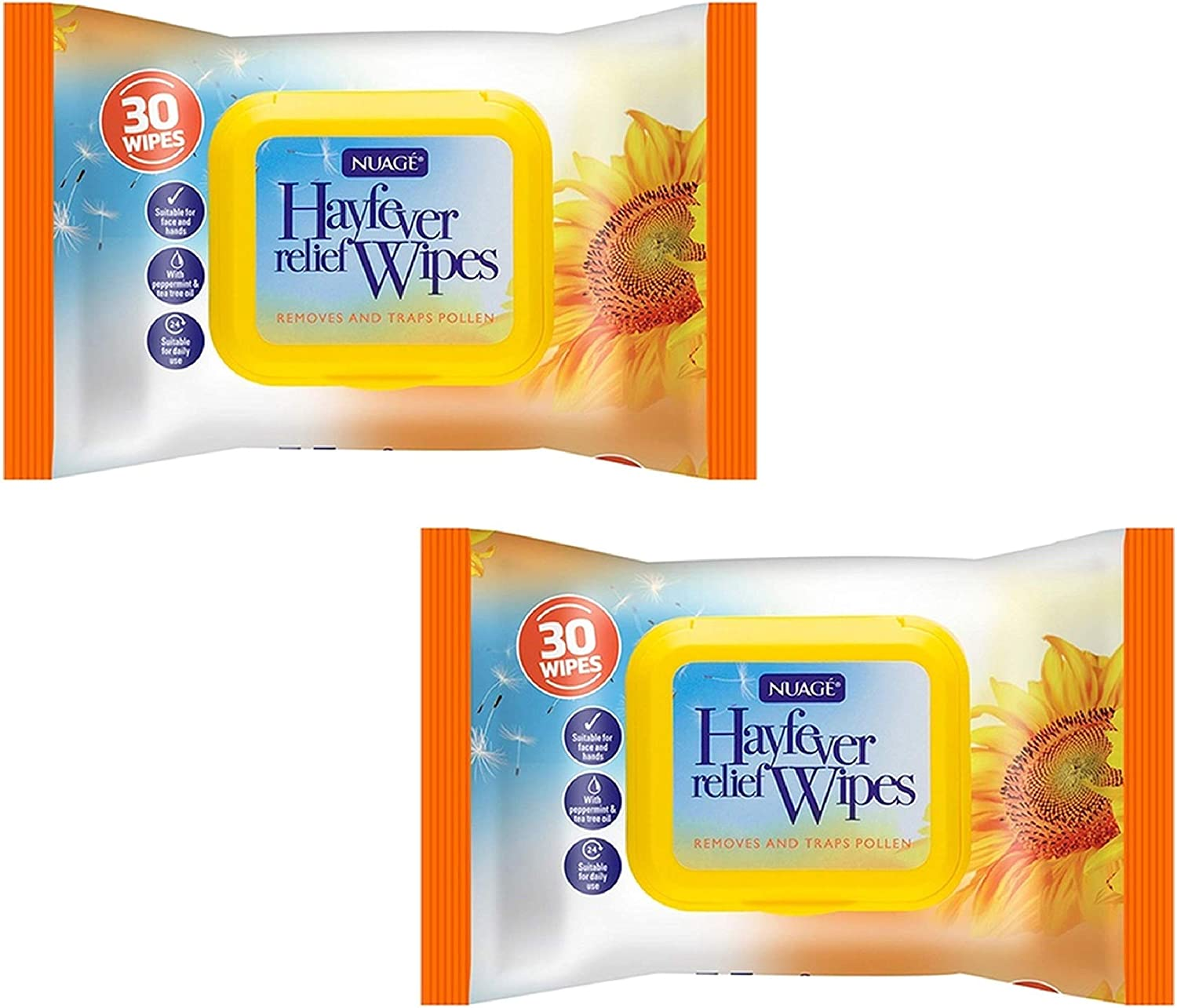 2 Packet 30 x Hayfever /& Allergy Relief Wipes for Hand /& Face Traps Pollen Dust Dirt Pet Allergy Wet Hay Fever Wipes 60 Wipes