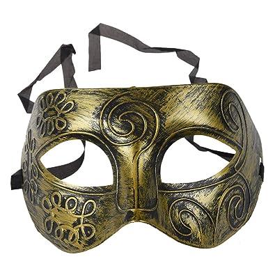 Trifycore Plástico griego antiguo soldado romano masculino partido veneciano de la máscara de Halloween Oro