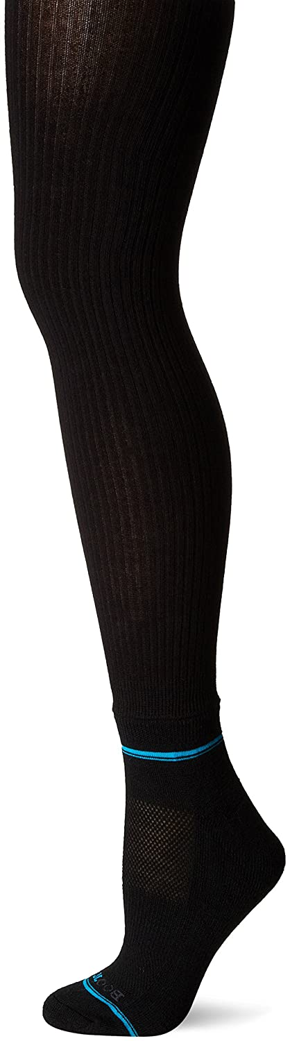 BOOTIGHTS Women's Petite Cascade Heavy Rib with Attached Wool Sock Black Small 3902-Jet Rib-S/M
