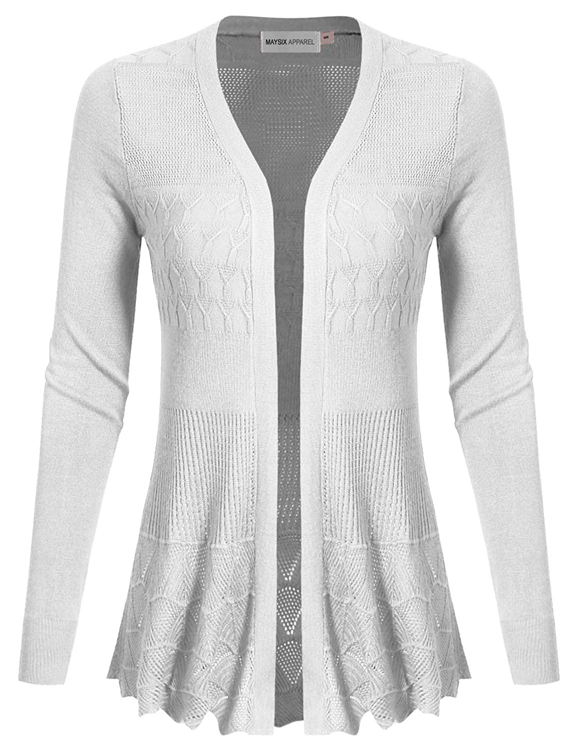 Msg5white MAYSIX APPAREL Long Sleeve Lightweight Crochet Knit Sweater Open Front Cardigan for Women (S2XL)