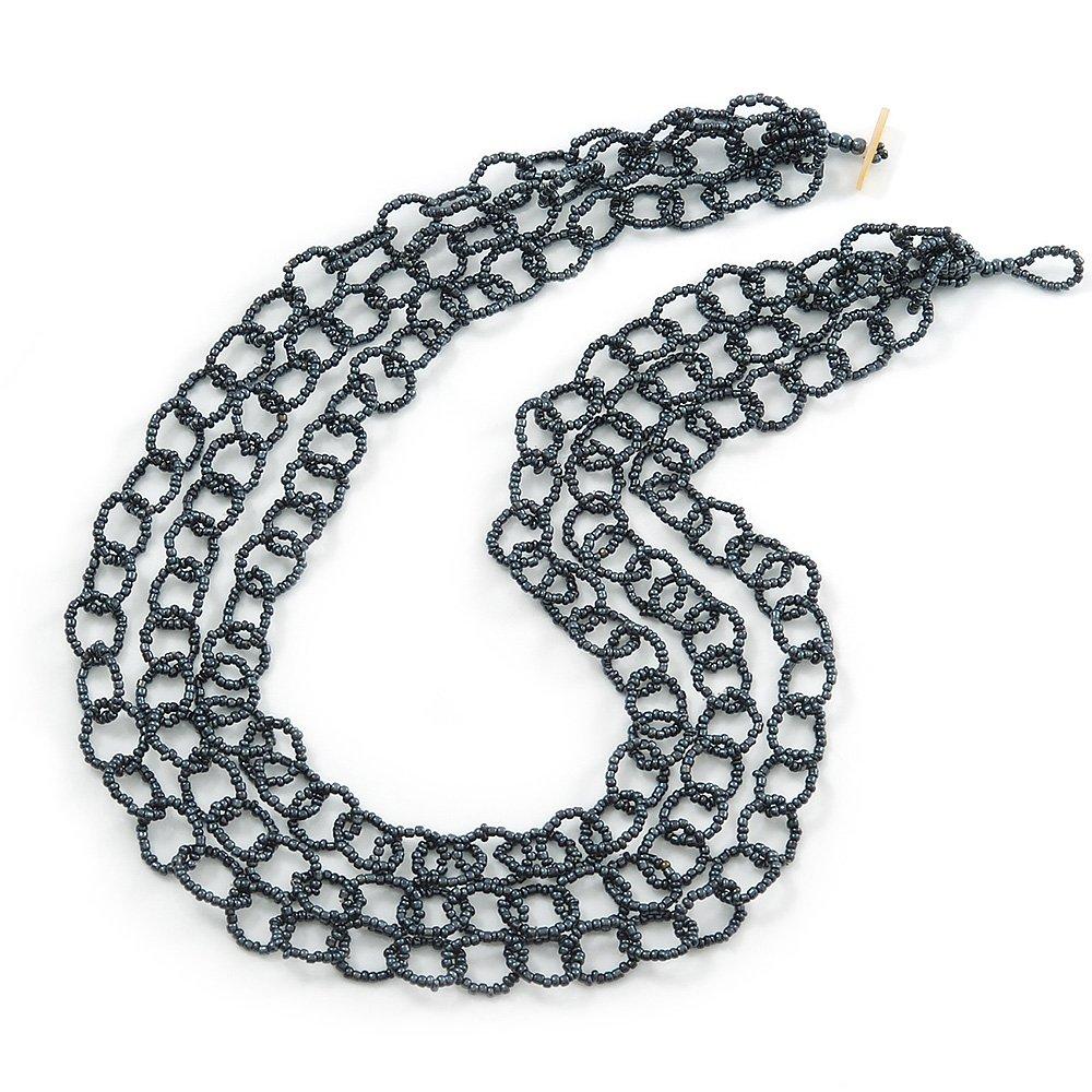 3 Strand Hematite Coloured Glass Bead Oval Link Necklace 60cm Length