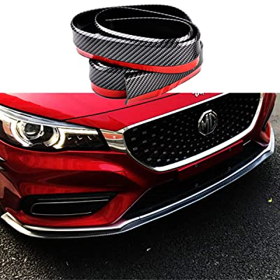 Lip Spoiler Universal Carbon Fiber Black Rubber Side Skirt Front Bumper Protector Guard Scratch-Resistant Car Exterior Accessories Trim Body Kit for Cars(2.5m/8.2ft): Automotive