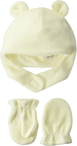 LUVABLE FRIENDS Unisex Fleece Bear Hat with Mittens 6-12 Months BRAND NEW
