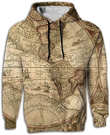 Mens Pocket Hoodies World Map Print Pullover Hoodie Drawstring Long Sleeve New