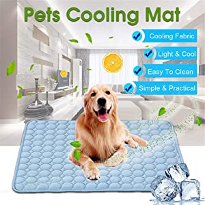 Pet Self Cooling Pat Summer- Non Toxic Ice Silk Mat Sleep - Extra Large Pet Cats Dogs Cooling Pad with 3 Layers - Help Your Pet Stay Cool (Blue, 39.37x27.55IN)