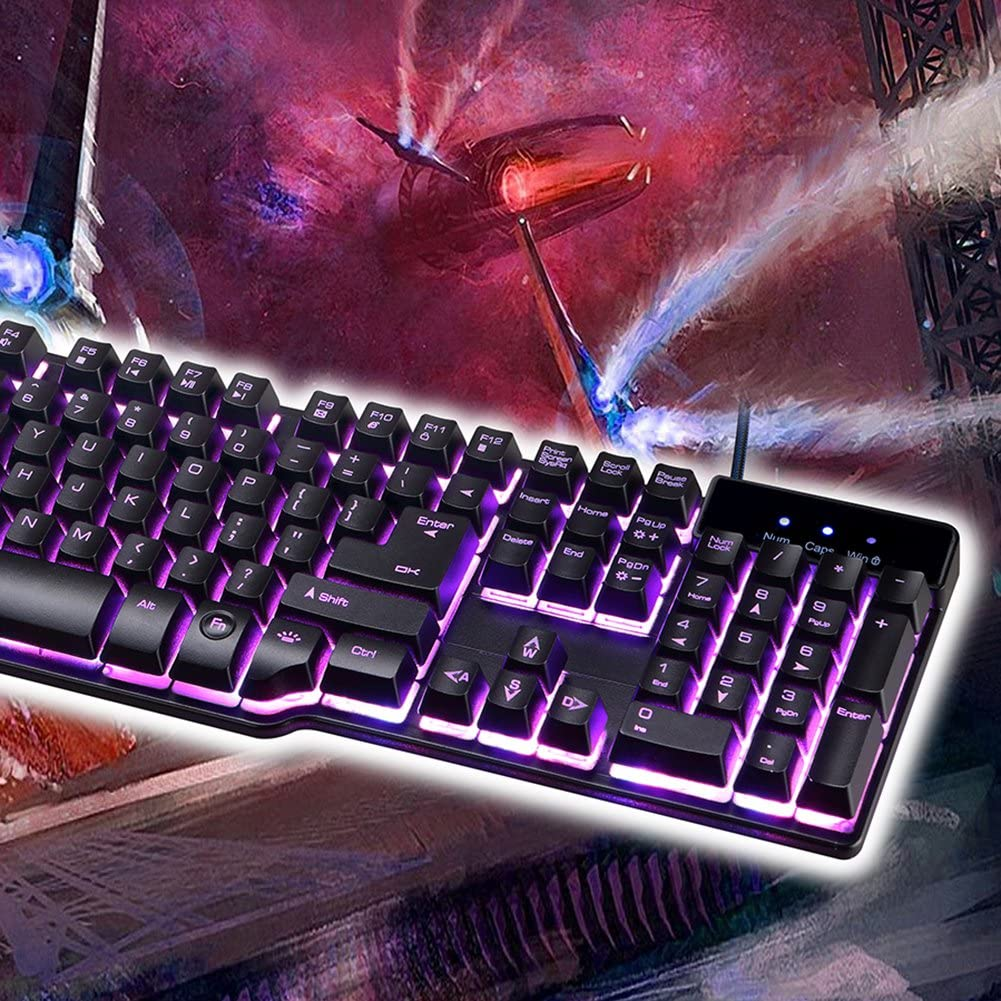 Blue-Ocean-11-104 keys English Gaming Keyboard with 3 Colors Backlit Keycaps Teclado Gamer for PC Games with Similar Mechanical Feel