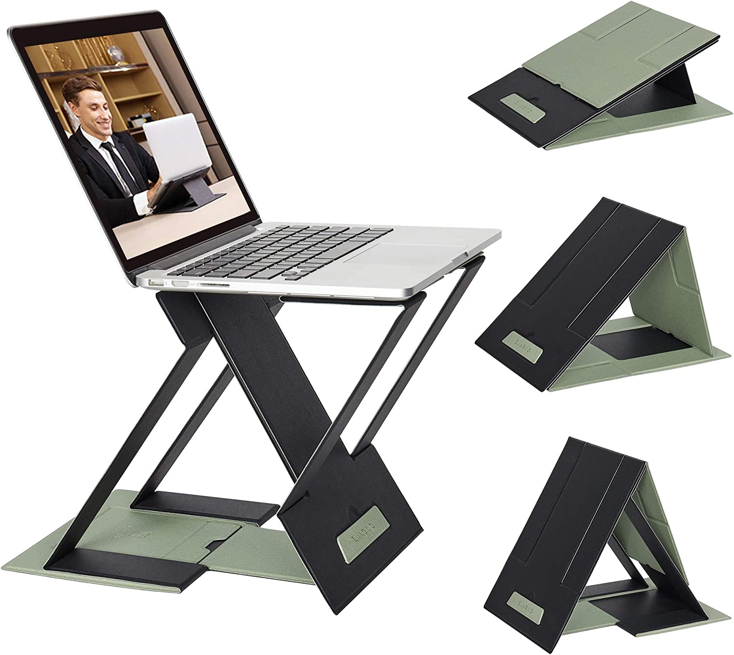 NTQ Portable Laptop Desk, Adjustable Laptop Stand for Bed, Couch, Laptop Riser Tablet Stand Holder, Compatible with MacBook, Air, Pro, Lenovo and More 10-15.6 Inch Laptop & Tablets (Green)