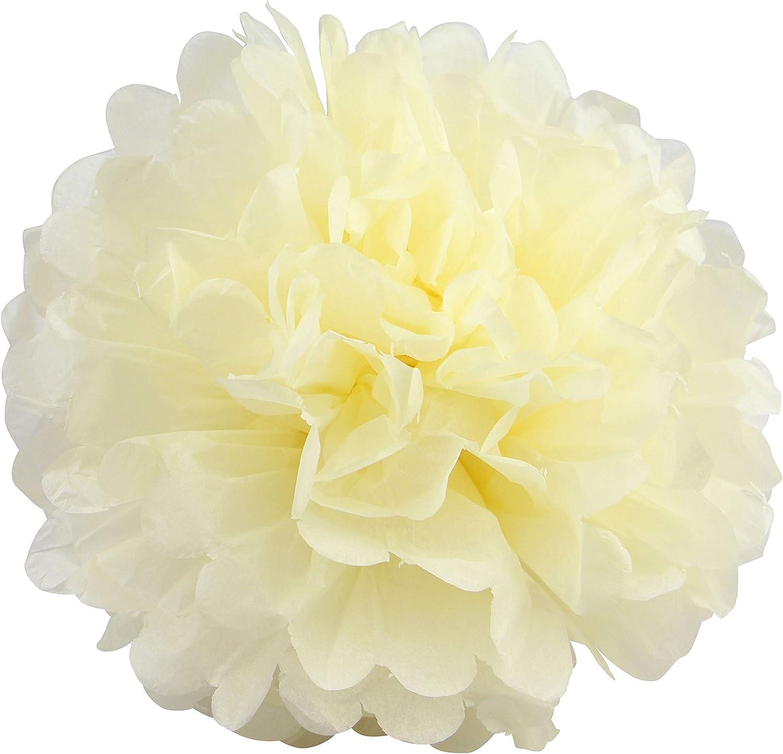 fiesta cumplea/ños fiestas pompones de papel de seda marfil, 30,5 cm 10 pompones de papel de seda para colgar decoraciones de boda para decoraci/ón de bodas 4 tama/ños