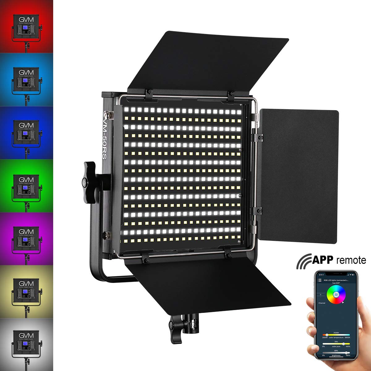 GVM 50RS RGB Video Light Full Color Output CRI97+ APP Control 3200K-5600K LED Continuous Video Light kit for Studio YouTube Photography Interview Portrait Photo Camera Lighting, Carry case, Barn-Door by GVM Great Video Maker