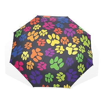 GUKENQ - Paraguas de Viaje, diseño de Huellas del arcoíris para Perro, Ligero,