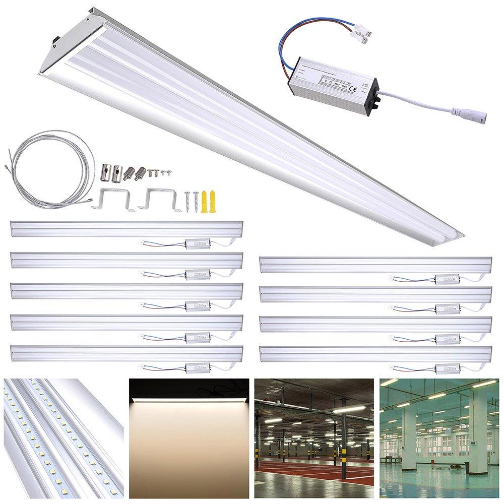 DELight 10-Pack 40W LED Shop Light 4000K 4000-4500lm Garage Work Shop Hanging Light Feature Ceiling Light Aluminum