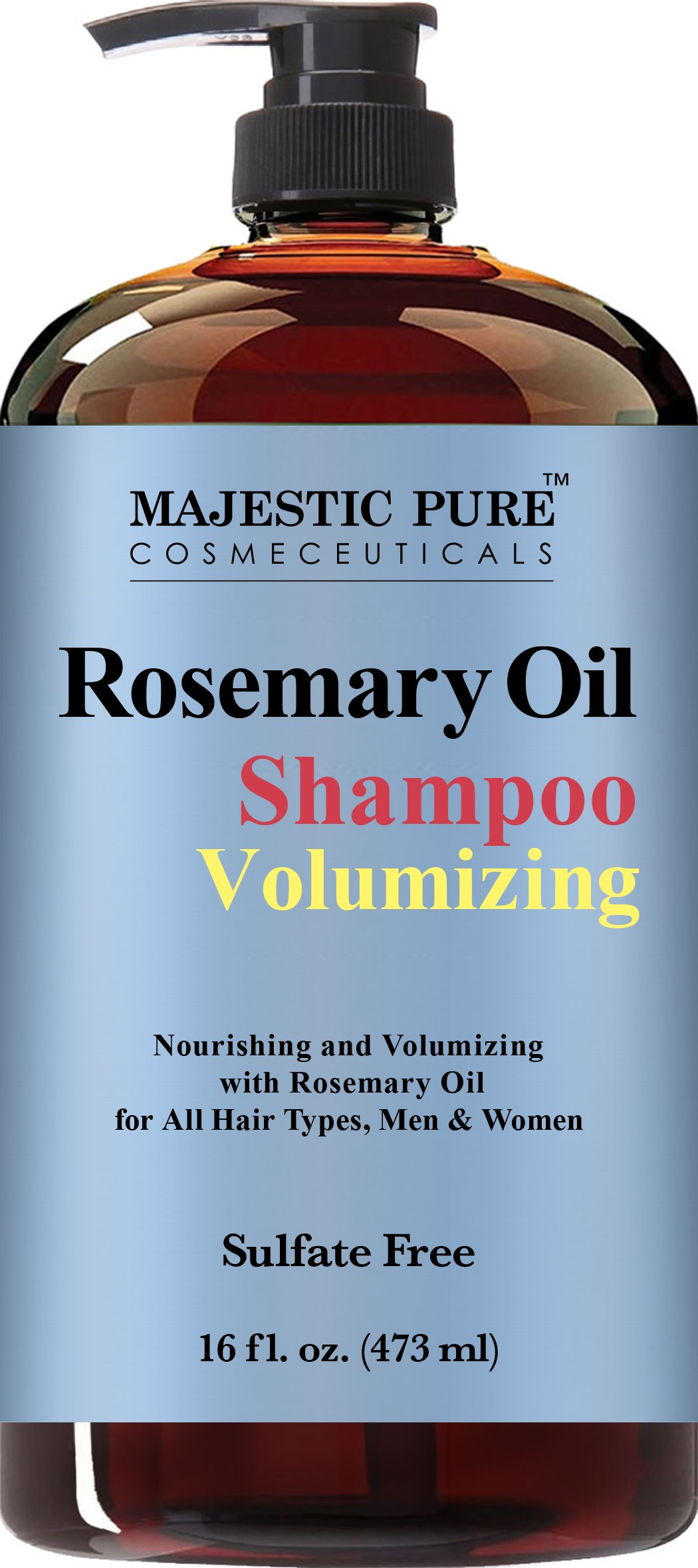 Majestic Pure Rosemary Shampoo, Sulfate Free with 2.5% Pure Rosemary Essential Oil, Growth Promoting Anti Hair Loss for Men & Women - 16 fl oz by Majestic Pure