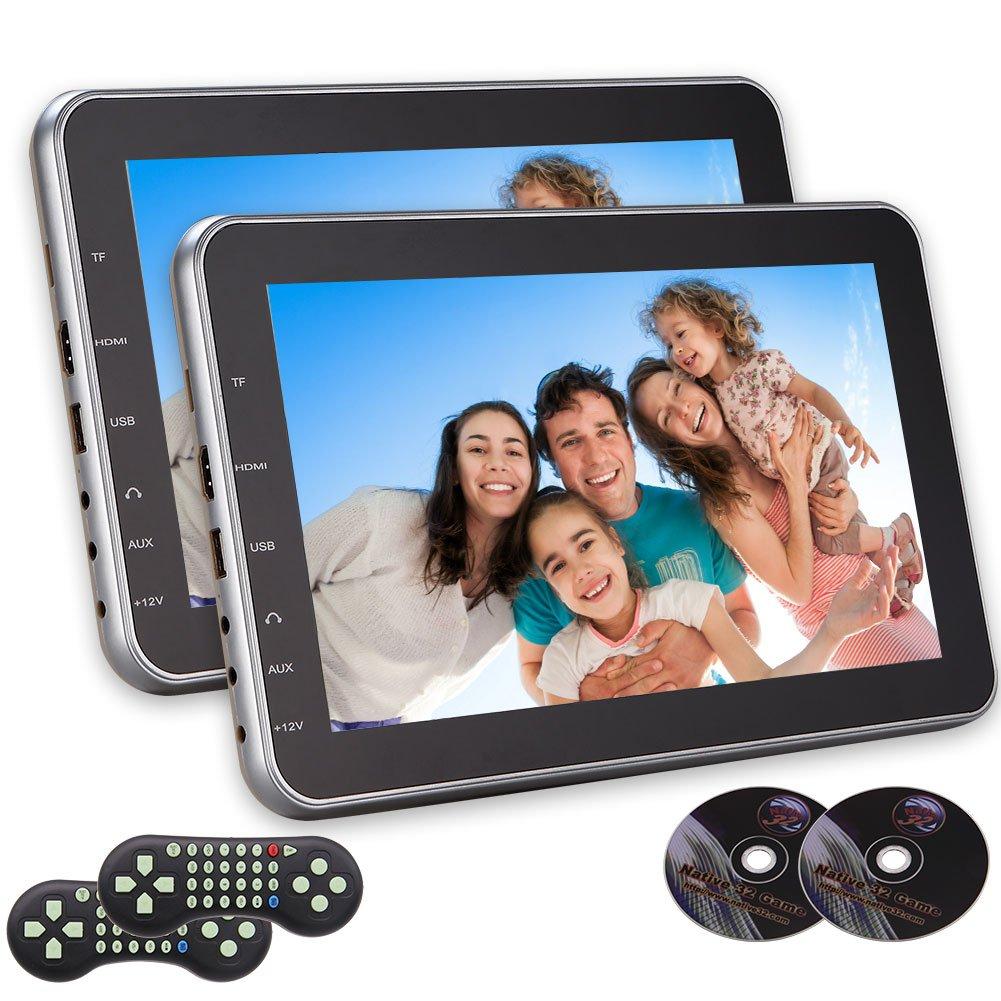 ゲームのAVリモートコントロール一対の入力HDMIポートFM IRトランスミッター付きデュアルスクリーン10.1インチ超薄型デジタルHDモニターヘッドレストカーDVDマルチメディアプレーヤーリアシート B07BNCZ36S