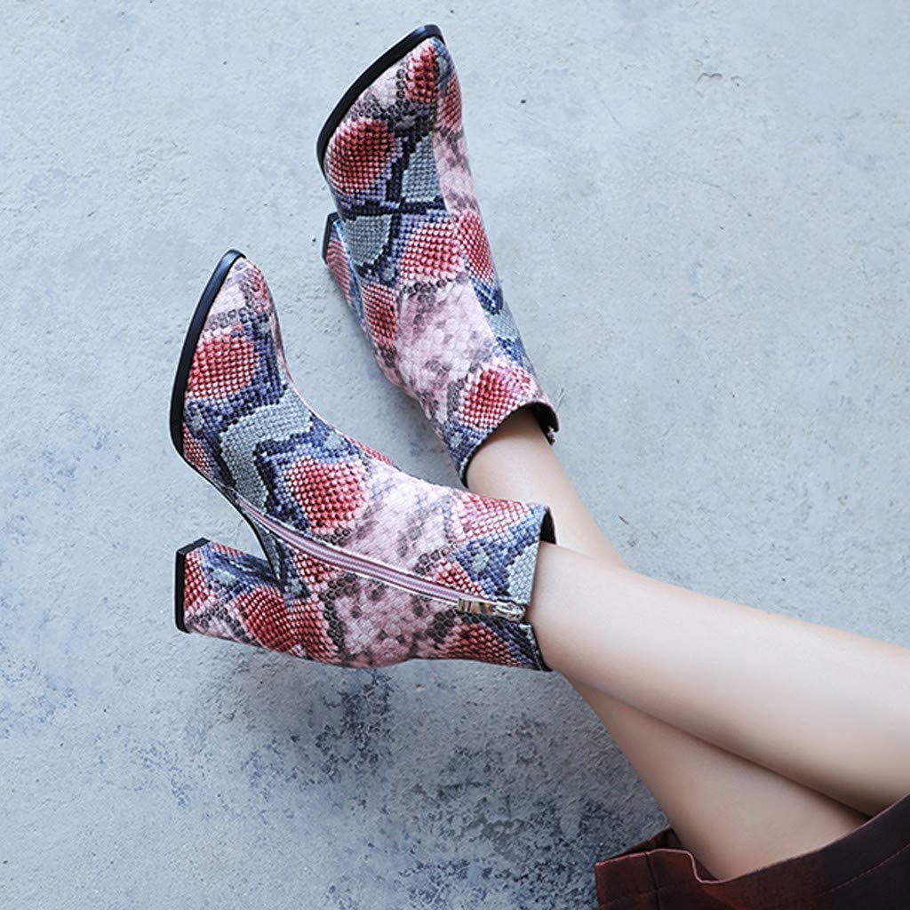 Ankle Booties with Chunky Heel,Fashion Womens Pointed Toe High Pumps Heel Snake Print Shoes Ankle Large Size Booties