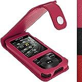 igadgitz Rose Étui Housse Cuir pour Sony Walkman NWZ-E585 avec Mousequeton et Prot. D'écran