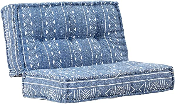 vidaXL Sofa Pouf Sitzkissen Sitzpouf Sitzpuff Sitzhocker Bodenkissen Polstersofa Lounge Sitzm/öbel Quadratisch 120x120x20cm Stoff Indigo