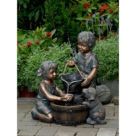 Amazon.com : Two Kids And Dog Outdoor/Indoor Water Fountain : Free ...