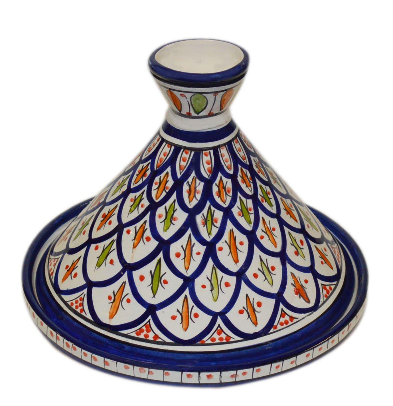 Moroccan Handmade Serving Tagine Exquisite Ceramic With Vivid colors Original Medium 10 inches Across