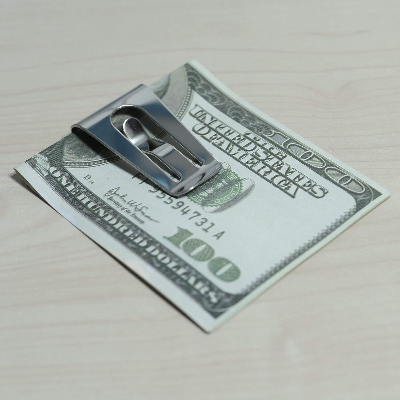 02d775f6d CoWalkers Monedero de bolsillo delgado de acero inoxidable monedero  identificación titular de la tarjeta de crédito, delgado bolsillo hombres  mujeres clip ...