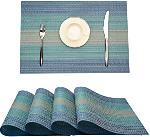 MrXLWhome Placemats Blue Set of 4, Washable Woven Vinyl Placemat, Dining Table Placemats, Anti-Skid Table Mats Blue Placemats. Kitchen Table Mats Easy to Clean(Blue)