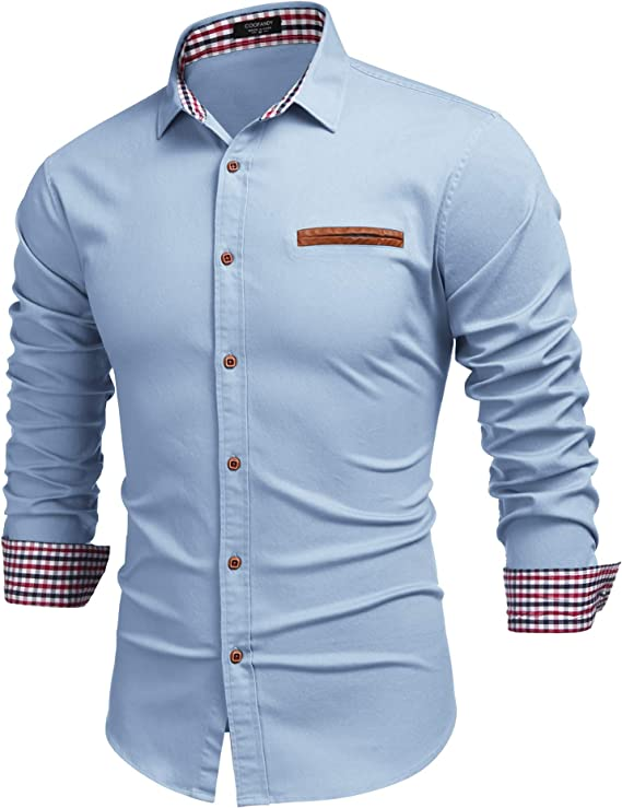Wilngo Men Casual Regular Fit Warm Lined Printed Long Sleeve Button Down Dress Shirts