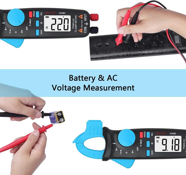 KEKEYANG Digital Digital Clamp Meter 1mA AC Current Pocket True RMS Auto-Ranging Temperature Ohm Tester ACM81 Clamp Meter (Color : Blue-acm81) Blue-acm81