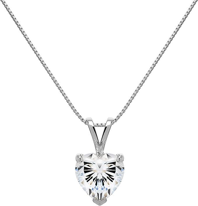 Jawa Jewelers 14K White Gold Heart Cubic Zirconia Heart Design Key Pendant