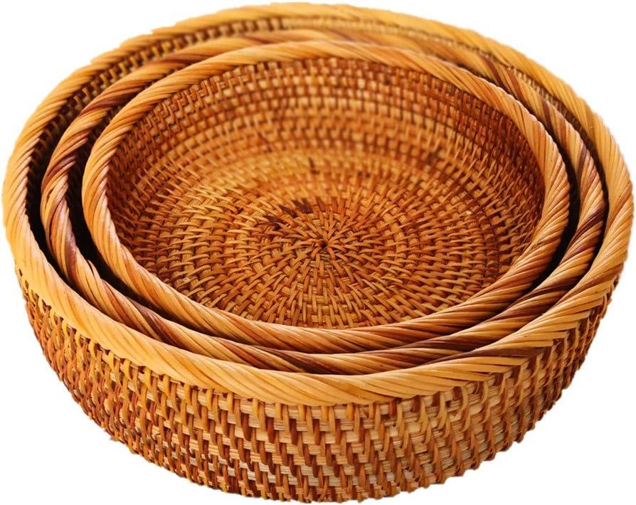 amololo Hadewoven Round Rattan Fruit Basket Wicker Food Tray Weaving Storage Holder Dinning Room Bowl (3-Size Kit)