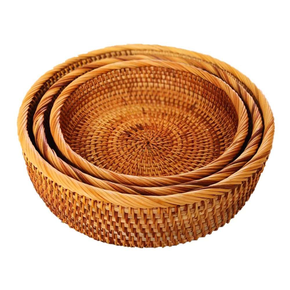 amololo Hadewoven Round Rattan Fruit Basket Wicker Food Tray Weaving Storage Holder Dinning Room Bowl (3-Size Kit) by amololo