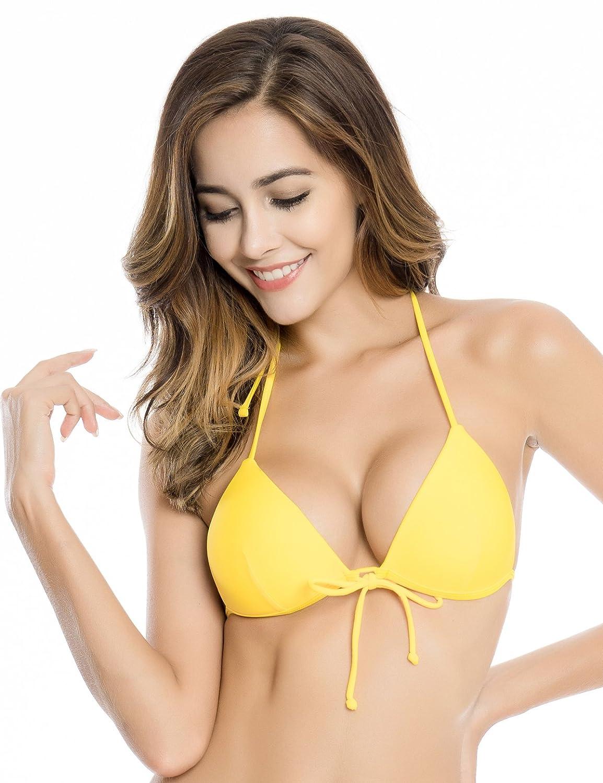 RELLECIGA Women Push-up Triangle Bikini Top with Memory Foam