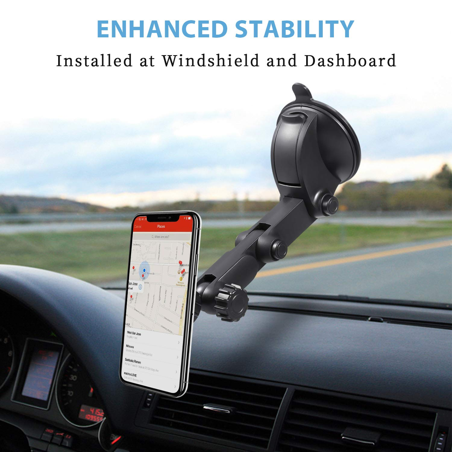 Magnetic Car Phone Mount,Beyyon Dashboard Windshield 5 Magnets and Unique Design with Flexible Viewing Angle Car Phone Holder Compatible with iPhone X/8/8P/7/7 Plus Galaxy S9/S9 Plus Edge