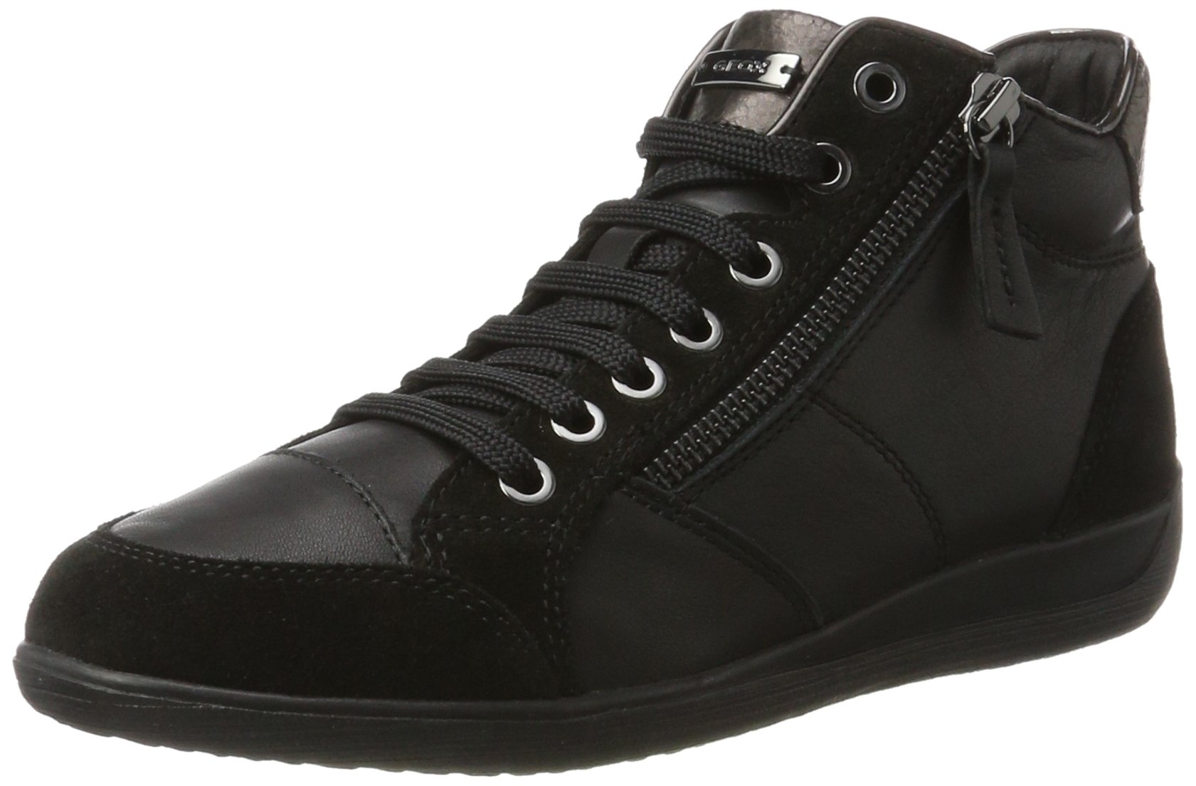 Geox D Myria C Womens Leather Sneakers / Shoes-Black-6