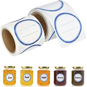 200 Pcs Canning Labels for Mason Jars, Dissolvable Label Washes off in Seconds Like Magic, Canning Supplies Stickers for Kerr, Ball Jars and Canning Lids (2''Round 100/Roll, Blue)