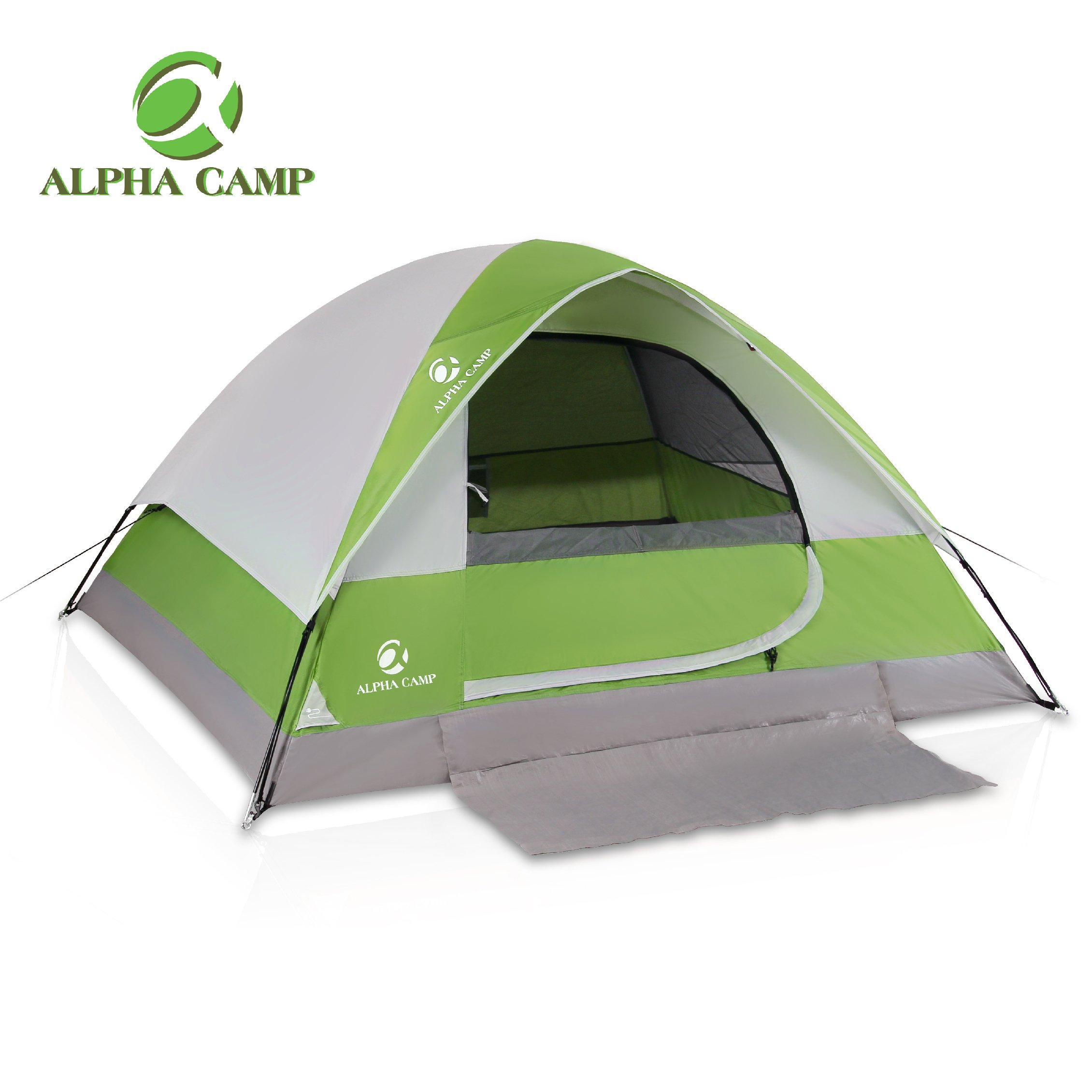 ALPHA CAMP 4 Person Camping Tent - 7' x 9' Green by ALPHA CAMP
