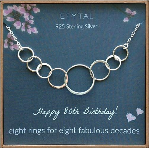 Amazon.com: EFYTAL 80 cumpleaños regalos para mujeres, plata ...