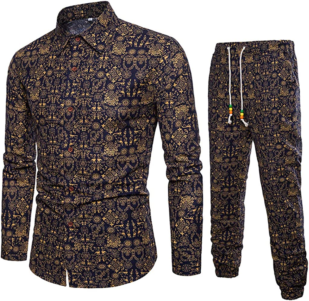 STORTO Mens 2 Pieces Outfits Casual Floral Vintage Printed Long Sleeve Button Down Shirt Tops Casual Long Pants Suits
