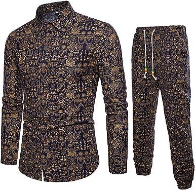 YEBIRAL Camisetas Hombre Manga Larga + Pantalones Vintage Estampado Solapa con Cordones Polos Camisetas Hombre Originales Camisas de Vestir Conjuntos (2XL, Negro): Amazon.es: Ropa y accesorios