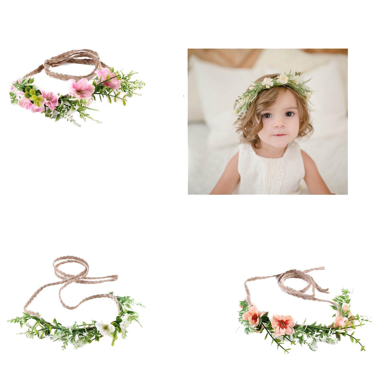 Baby Halo Headbands Baby Tie Back Headbands Boho Headbands Newborn Headbands Flower Hair Accessories Newborn Photo Prop