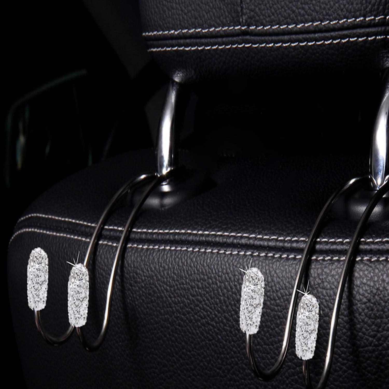 Auto Backseat Hanger Storage Universal for SUV Truck Vehicle. 2pcs Bling Car Hooks Universal Bling Diamond Car Headrest Hangers Organizer Seat Headrest Hooks White