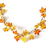 YUNLIGHTS Autumn Garland Battery Powered Lighted Fall Garland 14.7ft with 40 Lights, Perfect Decoration for Autumn and Thanksgiving (Warm white)