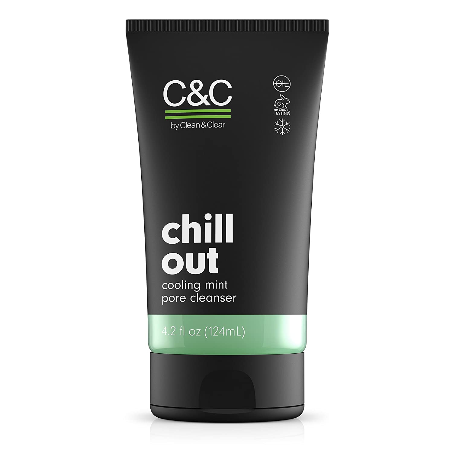 C&C by Clean & Clear Chill Out Cooling Mint Pore Facial Cleanser, Oil Free, Minty Fresh, Removes Dirt and Oil, Face Wash, 4.2 fl oz