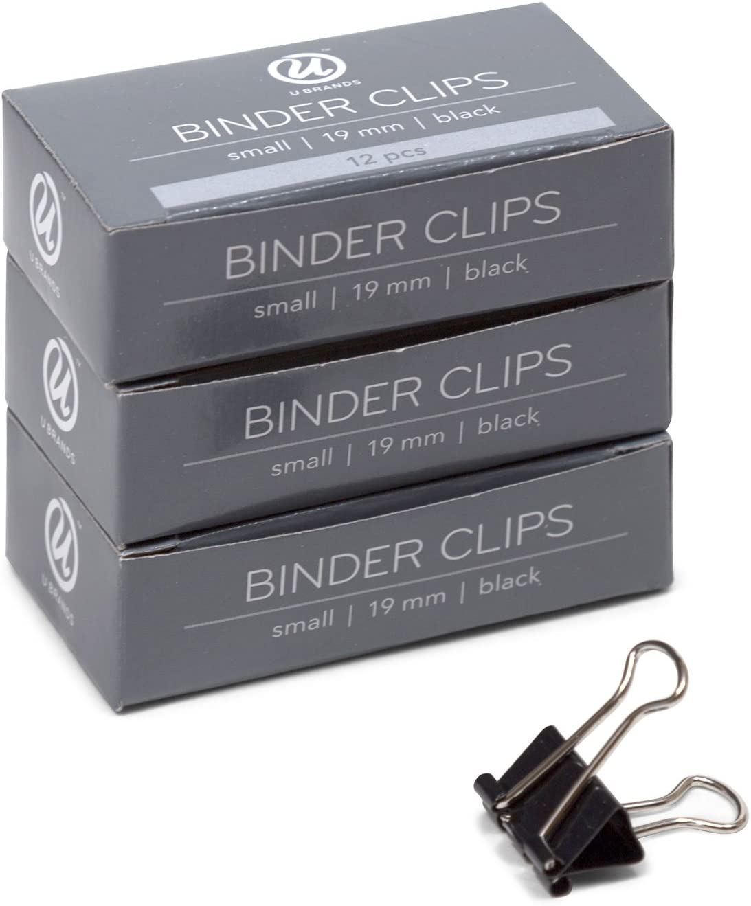 U Brands Binder Clips, Small 3/4-Inch Width, 1/3-Inch Paper Holding Capacity, Black and Silver Steel, 36-Count (652U08-24)