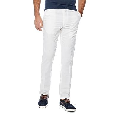 52829cddb77 Debenhams Maine New England Men White Linen Blend Regular Fit Trousers   Maine New England  Amazon.co.uk  Clothing