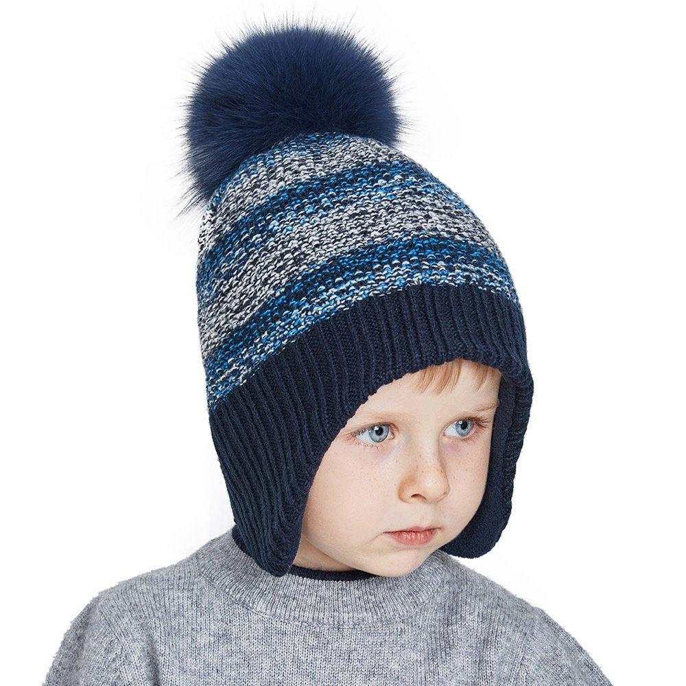 SOMALER Toddler Winter Hats For Boys Ear Flap Beanie Kids Real Fox Fur Pom Pom Beanie