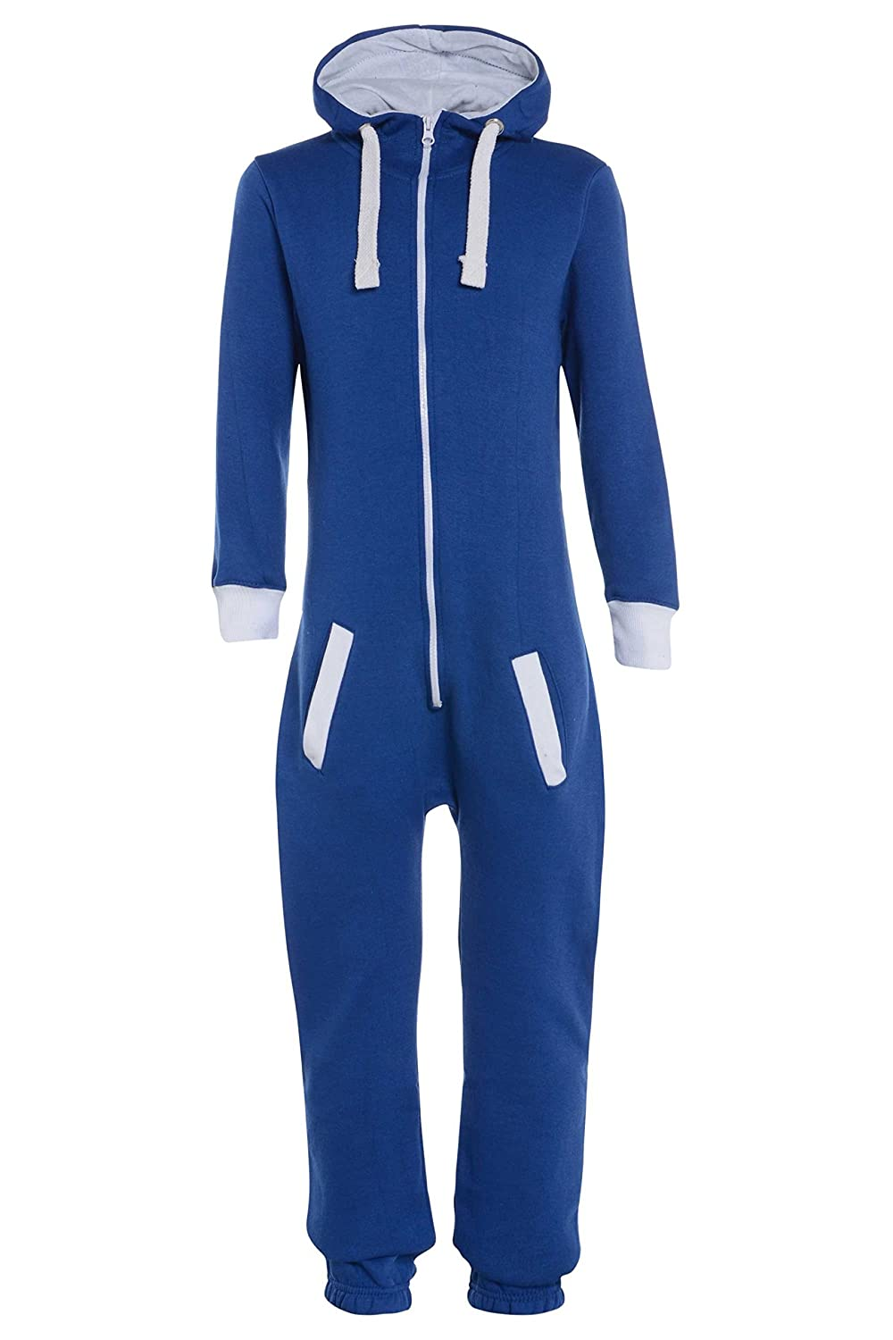 Childrens Unisex Boys Girls Kids Plain Onesie Hooded All In One Jumpsuit Sizes 7-14 Years Black & Grey (11-12, ROYAL BLUE)