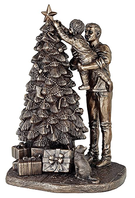 A Christmas Star Cast.Christmas Star A Beautiful Cold Cast Bronze Sculpture Of Daddy Helping His Little Child Put The Star On The Top Of The Christmas Tree