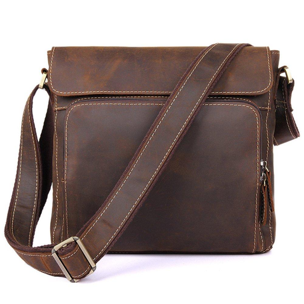 BAAFG Shoulder Bag Leather Studio Laptop Bag Waterproof Lining Leather Bag Men,Brown-OneSize